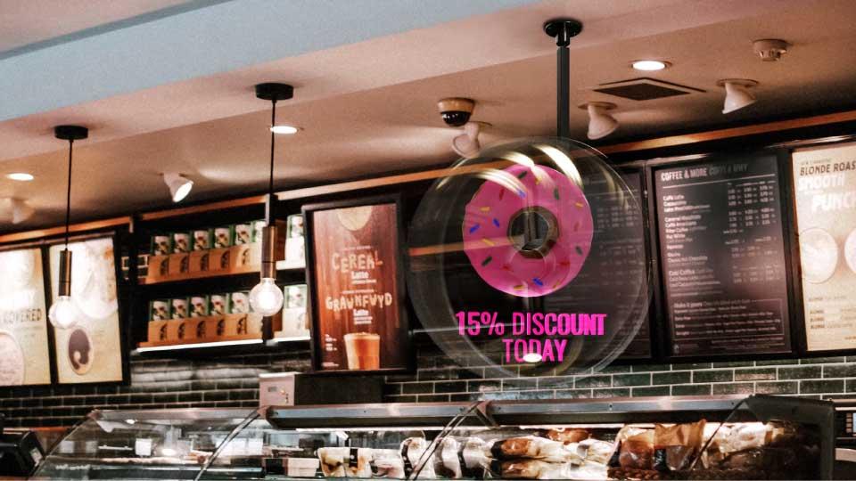 Quạt đèn led 3D hologram tại cửa hàng